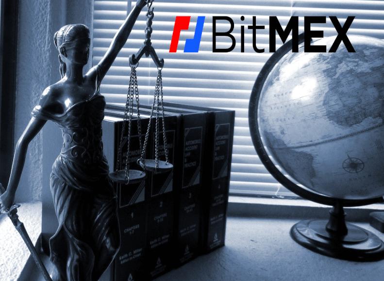 Imagen en la que se ven una figura representativa de la justicia, junto con un globo terráqueo , unos libros y el logo de la compañía BitMEX