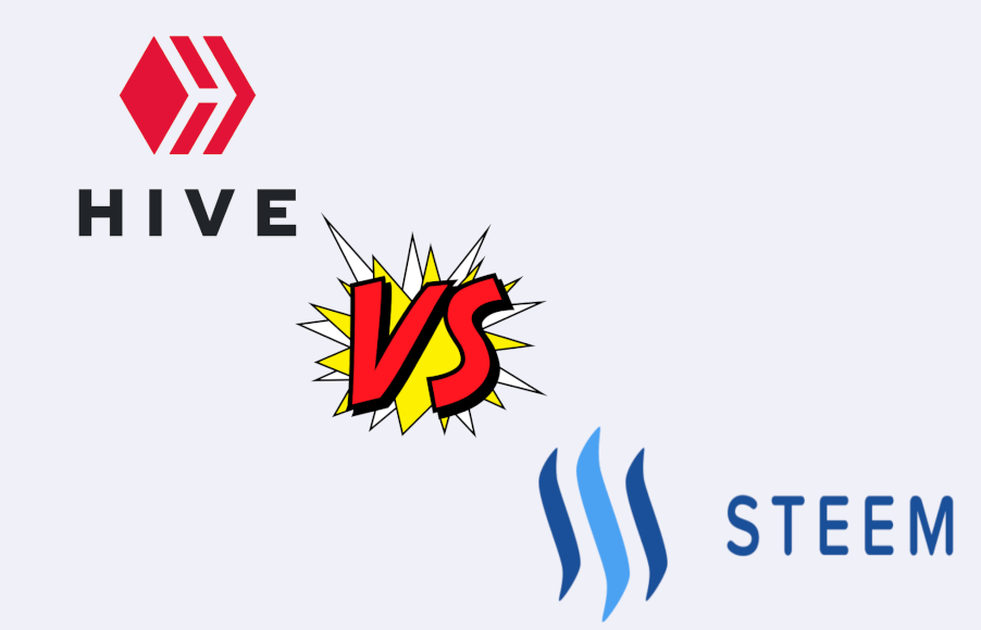 Imagen donde se ve el logo de Hive contra Steem