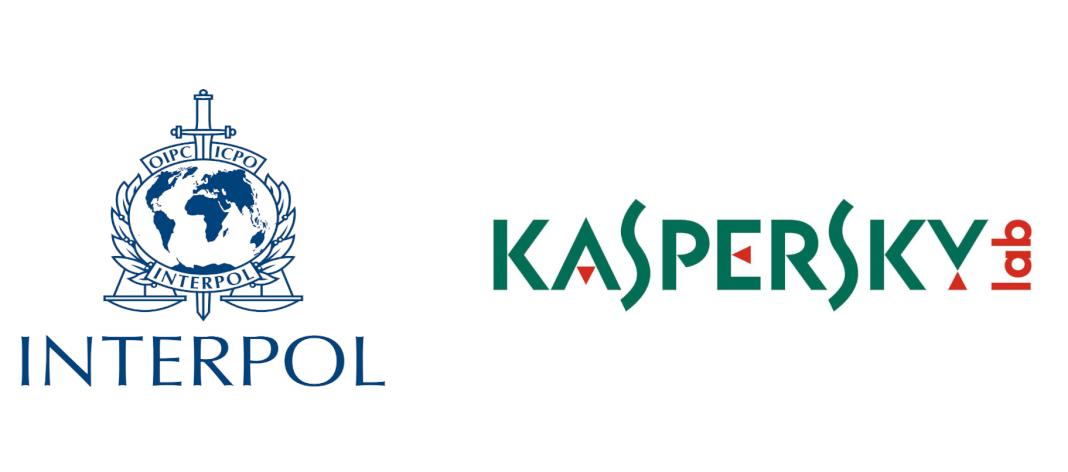 Imagen en la que se ve ambos los 2 logos de las entidades Kaspersky la Interpol