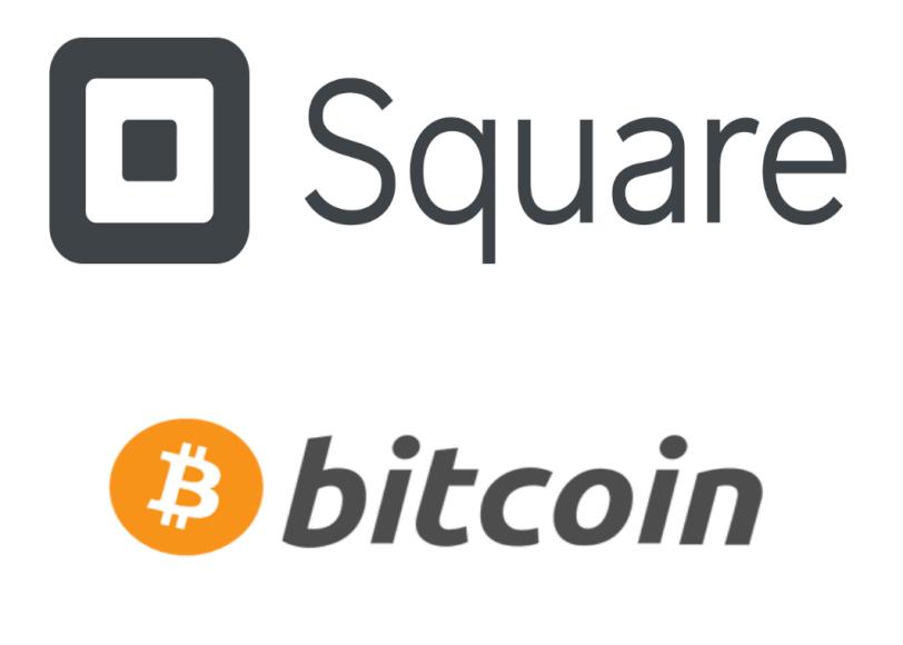 Imagen donde se ve el logo de Square y Bitcoin