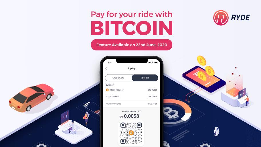 Ryde acepta Bitcoin