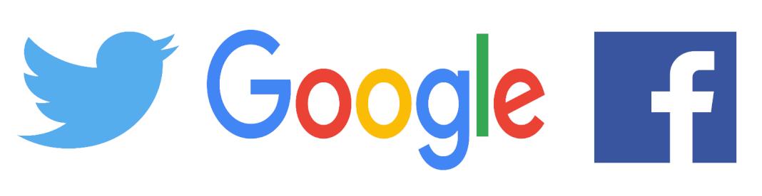 Imagen de los logos de Facebook Twitter y Google