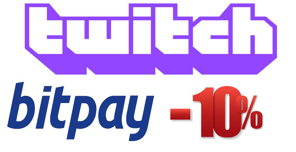Imagen donde se ven los logos de Twich y Bitpay junto al 10% de descuento en la plataforma
