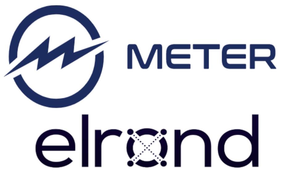 Logos de Elrond y Meter blockchain